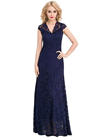 ohyeahlady Womens Formal Gown Floral Lace Evening Dresses Plus Size Cocktail Dress Navy US ...