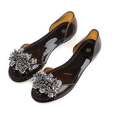 d488e9d24d07 Memorygou Women Summer Jelly Sandals - Bowtie Open Toe Slip On Flat Heel Sandal  Flip Flops