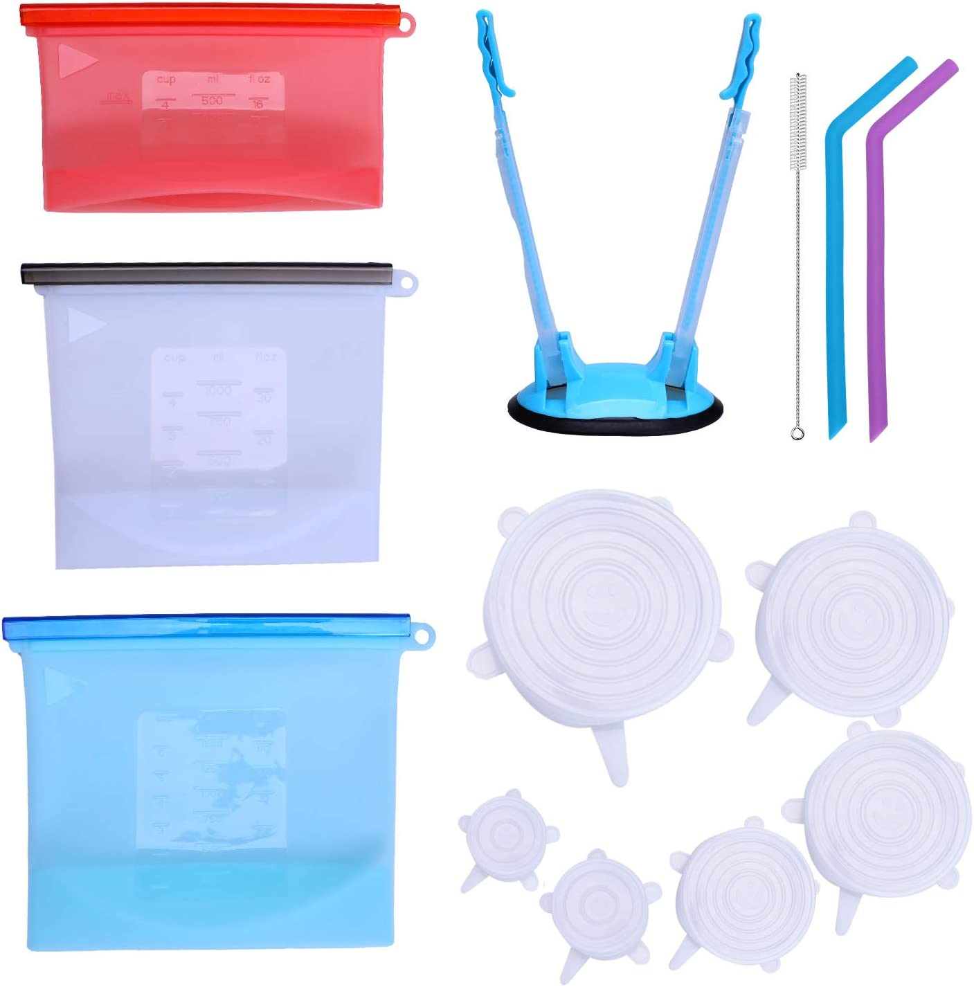 LEASEN Silicone Bags,Reusable Silicone Food Bags, Airtight Food Preservation Bags/Preservation Lids/Food Grade/Multi-Functional Silicone Bags for Liquids, Meat, Snacks, Sandwiches, Vegetables.