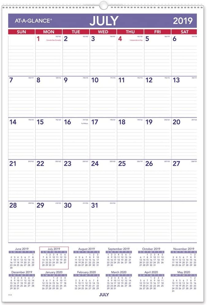 "AT-A-GLANCE 2019-2020 Academic Year Wall Calendar, Large, 15-1/2"" x 22-3/4"", Wirebound, Plan-A-Month (AY328)"