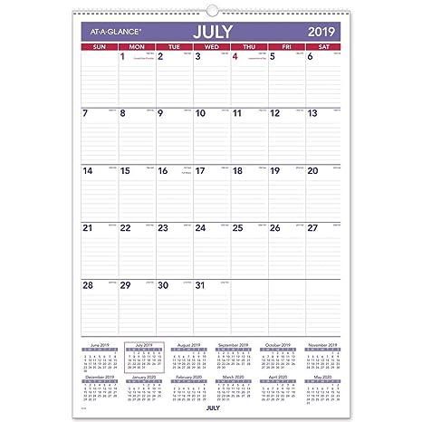 Wide Calendar February 2020 Amazon.: AT A GLANCE 2019 2020 Academic Year Wall Calendar