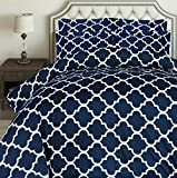 Duvet Covers and Shams Utopia Bedding 3pc Printed Duvet Cover Set with 2 Pillow Shams (Queen, Navy)