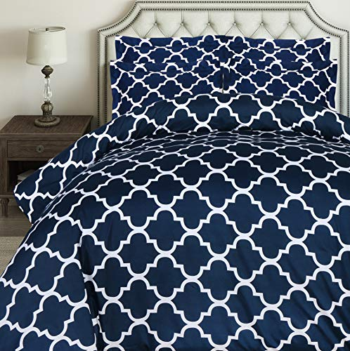 Utopia Bedding 3pc Duvet Cover with 2 Pillow Shams (Queen, Printed Navy) (Dark Duvet Blue Cover Queen)
