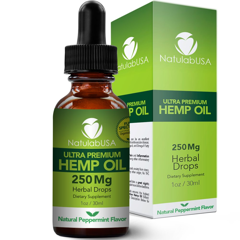 Hemp Oil by NatulabUSA - Fast Results - Relieve Chronic Pain - Ultra Premium Hemp Extract - Pure Hemp Seed Oil - Better Sleep - Healthier Skin - Smoother Hair - 250mg - 1oz- Natural Peppermint Flavor