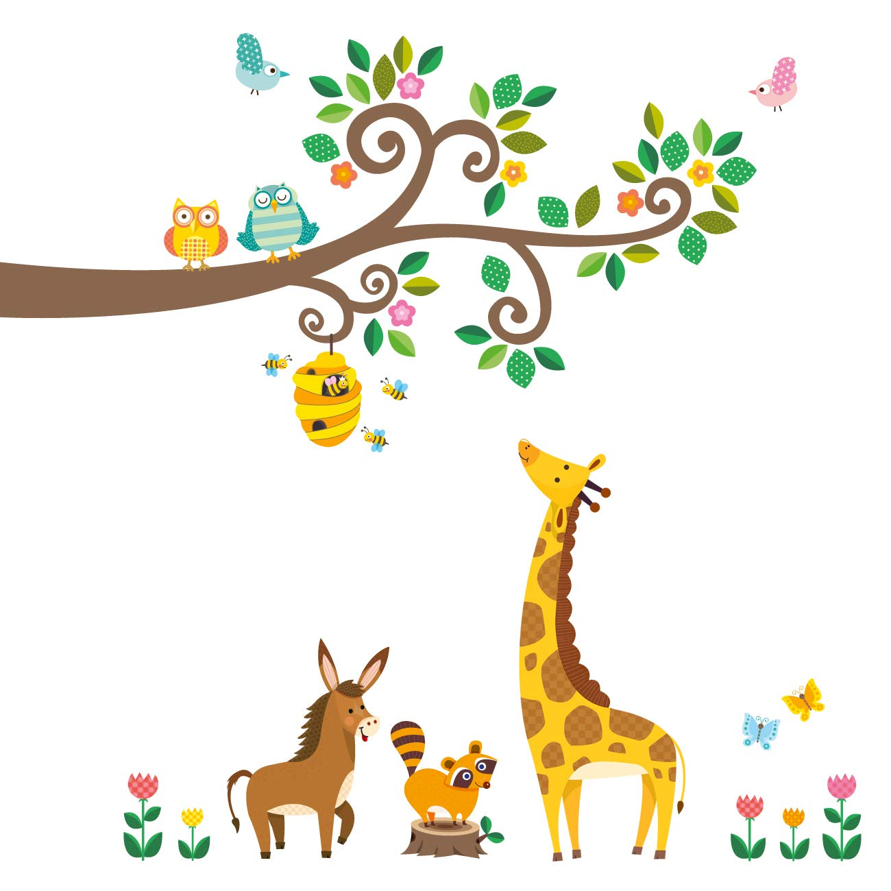 Decowall DW-1512 Scroll Branches and Animals Kids Wall Decals Wall Stickers Peel and Stick Removable Wall Stickers for Kids Nursery Bedroom Living Room