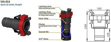 "Qwik-Loc Flow-Rite 3//4/"" Straight Socket MA-014 Livewell Plumbing Fitting"