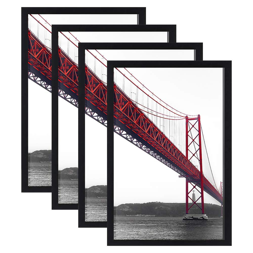 Kedada 11x17 Frame Black Poster Frame Without Mat Made of Solid Wood Wall Mounting Home Decor for 11 by 17 Picture, Set of 4 by Kedada