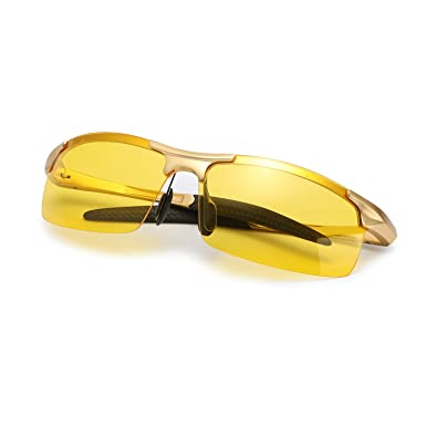 904bd1c53e5 Image Unavailable. Image not available for. Color  INISCO Night Driving  Glasses – Anti Glare HD Night Vision –Yellow Lenses ...