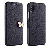 Kintaz Women Girls Flip Case Cover Leather Wallet Magnetic Case Cover Skin for iPhone Xs 5.8inch/Max 6.5inch/XR 6.1inch (iPhone Xs 5.8inch, Black)