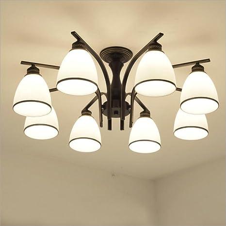 Joypeach LED Retro Iron Living Room Ceiling Lights Fixtures Bedroom Ceiling  Lights Flush Mount With 8