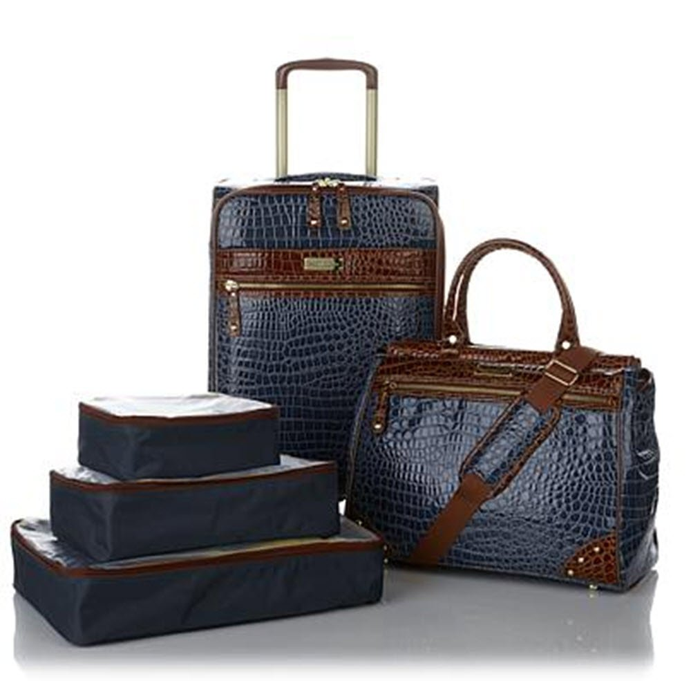 Samantha Brown Classic Navy/Camel 5 piece Luggage Set, 21'' Spinner, Dowel Bag & Packing Cubes by samantha brown (Image #1)