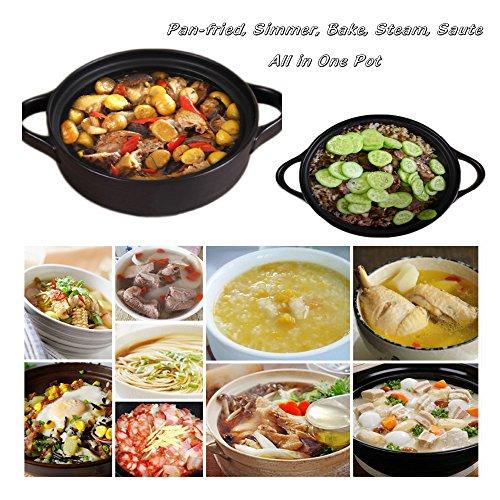 Tagine Ceramic Cookware,Healthy Dutch Oven Cooking Pot,Colorful 600 Degrees Crack Resistant Porcelain Soup Pots,Energy Saving Casserole Dish Stockpot,Hot Pot,Stew Pot(1-2/5Quarts,Yellow)
