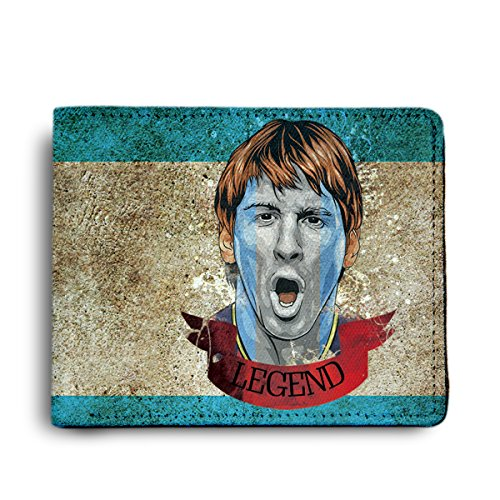 ShopMantra Messidona Argentina Football Printed Canvas Leather Wallet for Men's