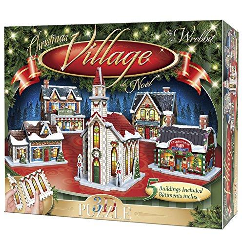 WREBBIT 3D Christmas Village 3D Panel Puzzle, Standard ()