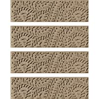 Bungalow Flooring Waterhog Stair Treads, Set of 4, 8-1/2 x 30, Skid Resistant, Easy to Clean, Catches Water and Debris, Boxwood Collection, Khaki/Camel