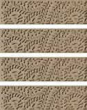Bungalow Flooring Waterhog Stair Treads, Set of 4, 8-1/2'' x 30'', Skid Resistant, Easy to Clean, Catches Water and Debris, Boxwood Collection, Khaki/Camel