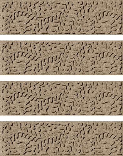 Bungalow Flooring Waterhog Stair Treads, Set of 4, 8-1/2'' x 30'', Skid Resistant, Easy to Clean, Catches Water and Debris, Boxwood Collection, Khaki/Camel by Bungalow Flooring