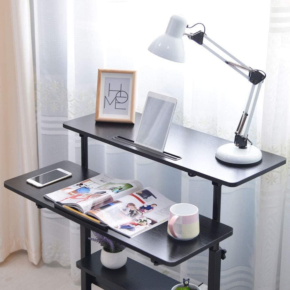 Nero 120cm lyrlody Mobile Porta pc Stampante,Tavolo per Computer in Piedi,Laptop Stand Mobile Notebook Ripiani Regolabili,Supporto Portabile Tavolino Regolabile,85