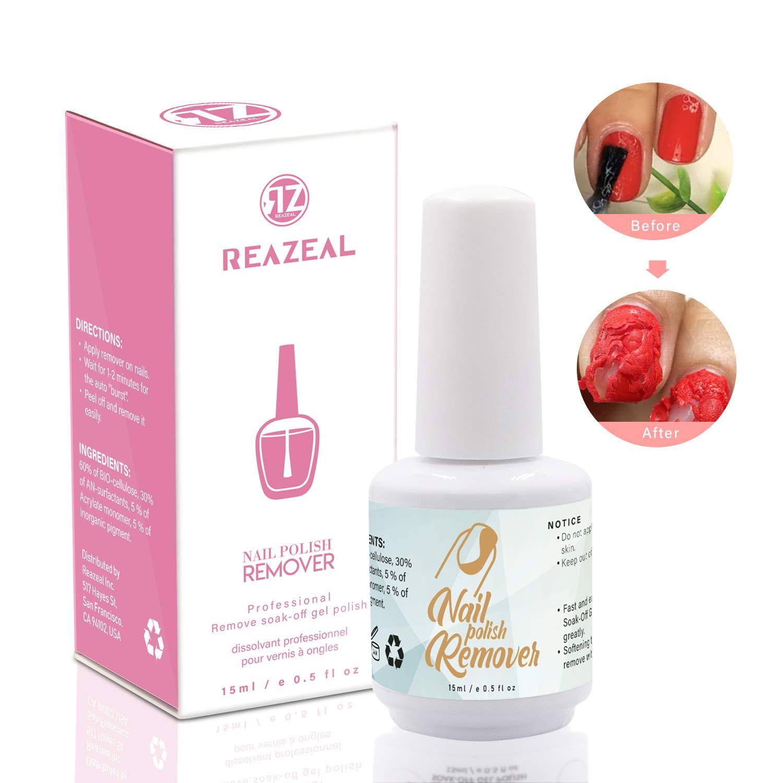 Reazeal Magic Nail Polish Remover Removes Soak-Off Gel Nail Polish, Easily & Quickly,Professional Non-Irritating Nail Polish Remover - 15 ml by Reazeal