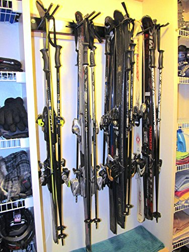Ski Wall Storage Rack | Holds 8 Pairs | Steel Home and Garage Skis Mount