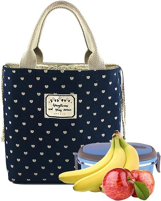 WHT Bolsas de Almuerzo para ni/ños Bolsas de Comida para el Trabajo Bolsas de Almuerzo para Mujeres ni/ños Hombres Bolsas de Comida con Aislamiento Bolsas de Almuerzo ni/ños Love Patten Blue