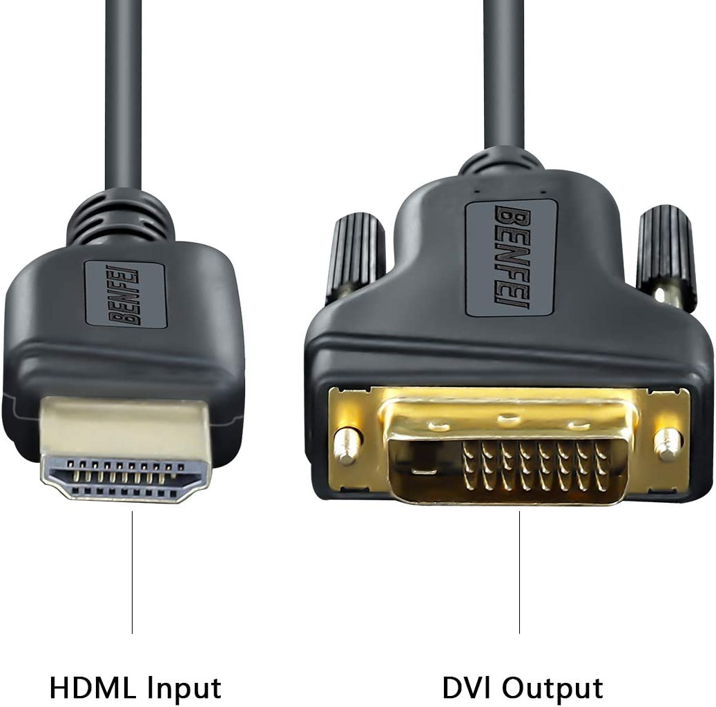 Roku PS4 PS3 HDMI to DVI Benfei 2 Pack HDMI to DVI Cable Bi Directional DVI-D 24+1 Male to HDMI Male High Speed Adapter Cable Support 1080P Full HD Compatible for Raspberry Pi Xbox One