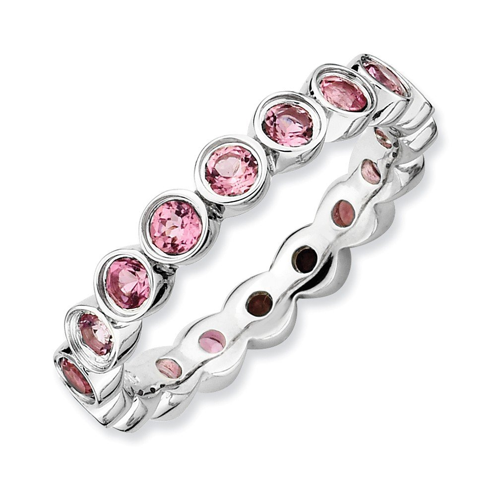 Roy Rose Jewelry Sterling Silver Stackable Expressions Pink Tourmaline Ring Size 7