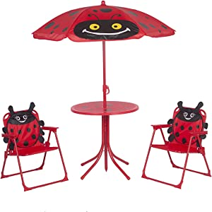 Kids Folding Picnic Table and Chairs Set with Removable Beach Umbrella Mini Camping Table Set with 2 Beetle Pattern Chairs Sunshade for Children Outdoor Garden Beach Patio Use(Ladybug Cartoon)