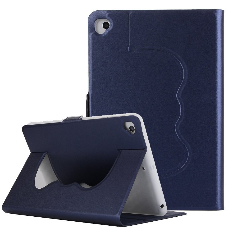 Vacio iPad case cover Premium PU Leather Solid Color Lightweight Slim-Fit Folding Flip Stand Cover Protective Case for iPad air2/iPad Pro 9.7 Inch 2017 -Dark Blue