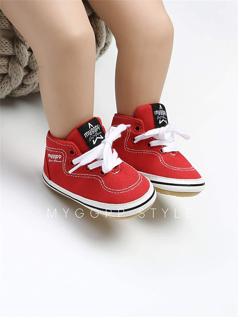Baby Boys Girls Shoes Infant Newborn Canvas Lace Up Soft Rubber Sole Anti-Slip Sneaker Toddler Shoes
