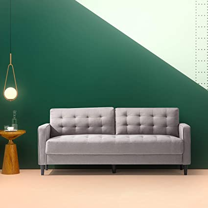 Zinus Mid Century Upholstered 76in Sofa / Living Room Couch, Stone Grey  Weave