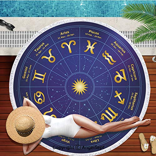 Round Beach Blanket or Tapestry or Bohemian Decoration or Hippie Beach Blanket,Circle Tablecloth or Picnic Throw Rug Mat - 59 Inches,Astrology,Horoscope Zodiac Signs with Birth Dates in Circle with St (Horoscope By Date Of Birth Time And Place)