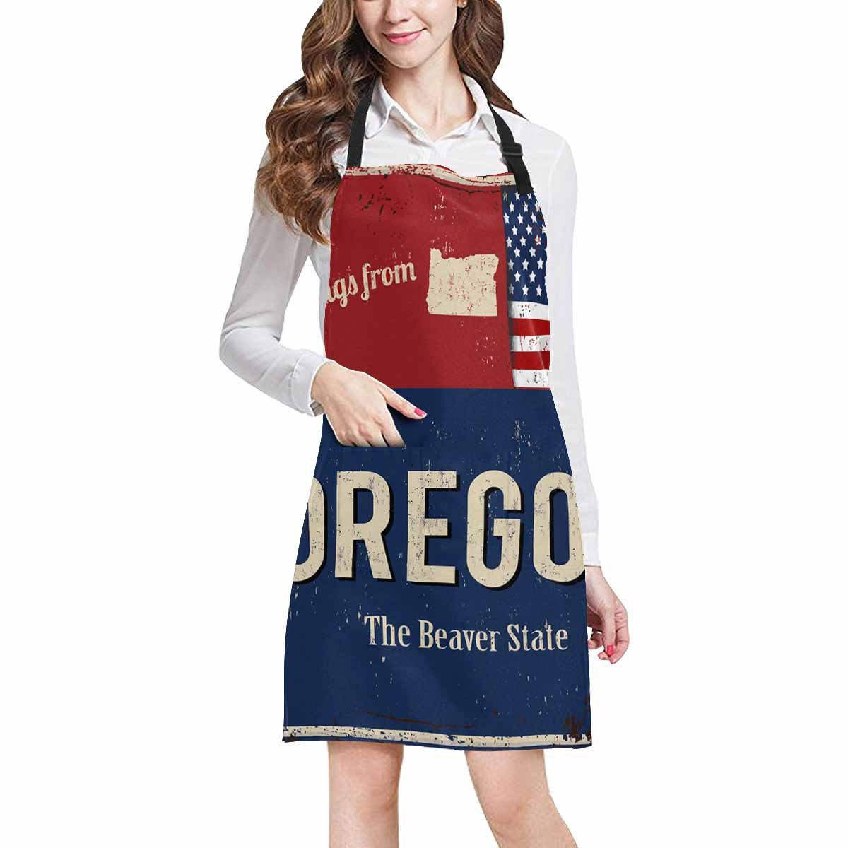 InterestPrint Greetings from Oregon the Beaver State with American Flag Chef Aprons Professional Kitchen Chef Bib Apron with Pockets Adjustable Neck Strap, Plus Size
