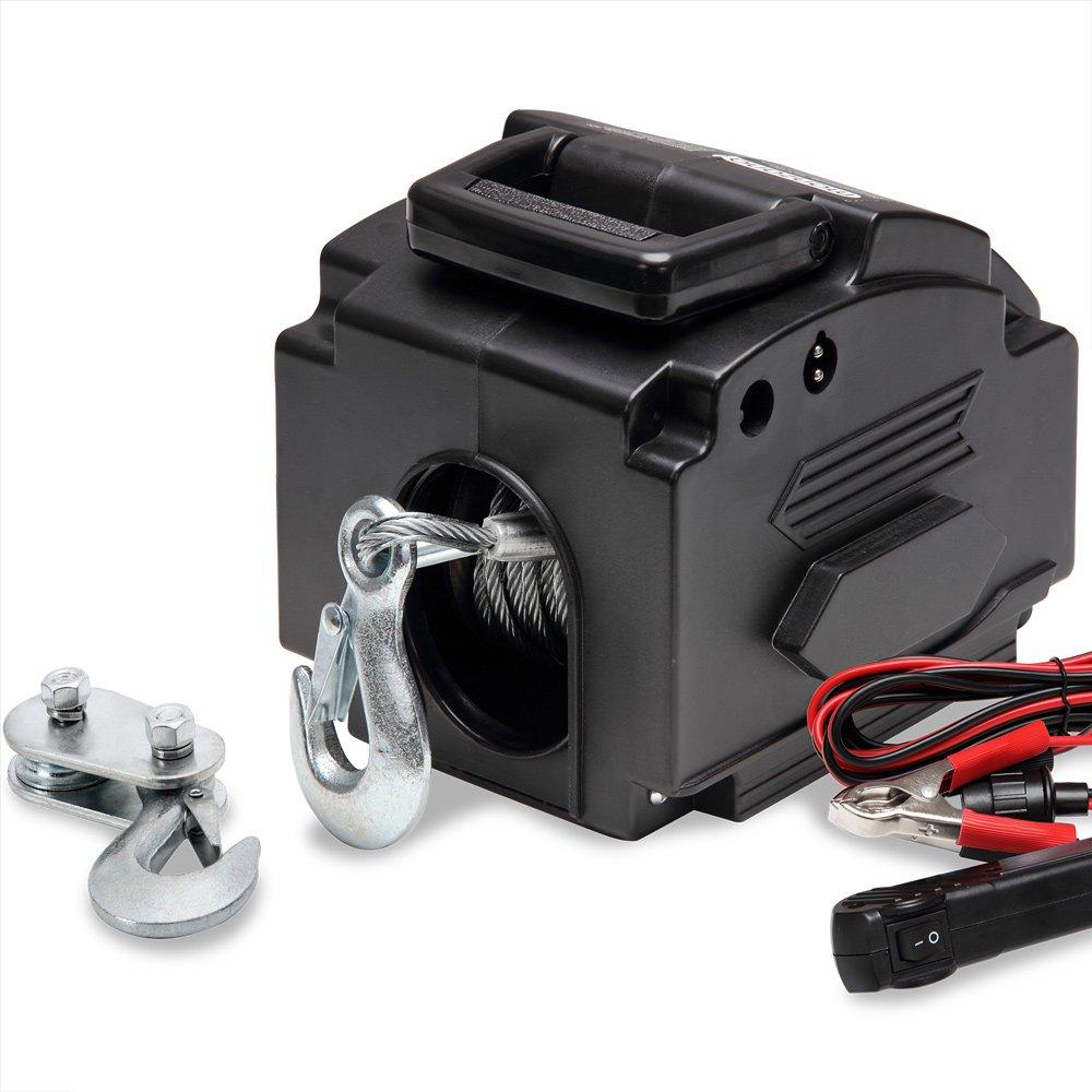 Treuil /électrique 12V C/âble de tension Charge max 907 kg avec Crochets Manivelle