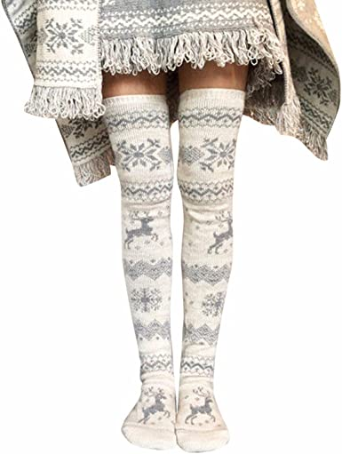 Women Girls Christmas Xmas Cosplay Party Club Long Boot Socks Over Knee Stocking