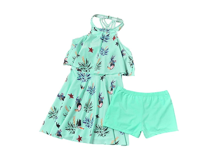 ACVIP Maillot de Bain Deux Pièces Robe+ Culotte Swimwear Plage pour Enfant Fille