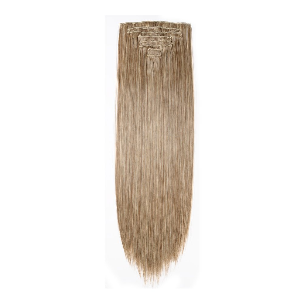 Clip in Hair Extensions Synthetic Full Head Charming Hairpieces Thick Long Straight 8pcs 18clips for Women Girls Lady (23 inches-straight, ash brown mix bleach blonde) by Beauti-gant (Image #4)
