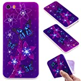 iphone SE 5 5S Case, iphone SE 5 5S Phone Case, iphone SE 5 5S Soft Case, Cozy Hut [Shockproof] 3D Frosted Design Chic Slim Cute Animal Stylish Pattern Flexible Full-body Protective TPU Drop Resistant Back Cover For iphone SE 5 5S - Purple Butterfly Flo