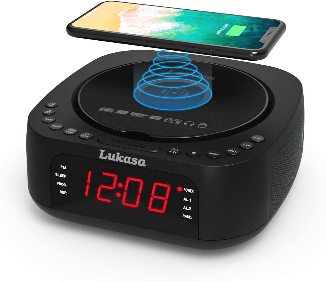 Lukasa Bluetooth CD Player Tabletop Boombox Stereo Clock Wireless Charger,Home Digital FM Radio Dual Alarm Clock Top-Loading Disc Mp3 Players USB AUX Sleep Timer (Black)