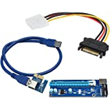 Demiawaking USB 3.0 PCI-Express 1x〜16x 拡張ライザーカードアダプター SATA 4PIN 電源ケーブル 60cm (右)