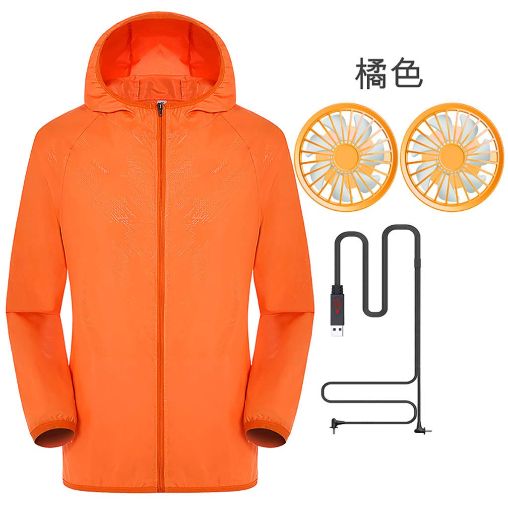 Jacket with Fans,Men's Hooded Air-Conditioned Clothes Outdoors Sports Jacket and Zipper (S, Orange)
