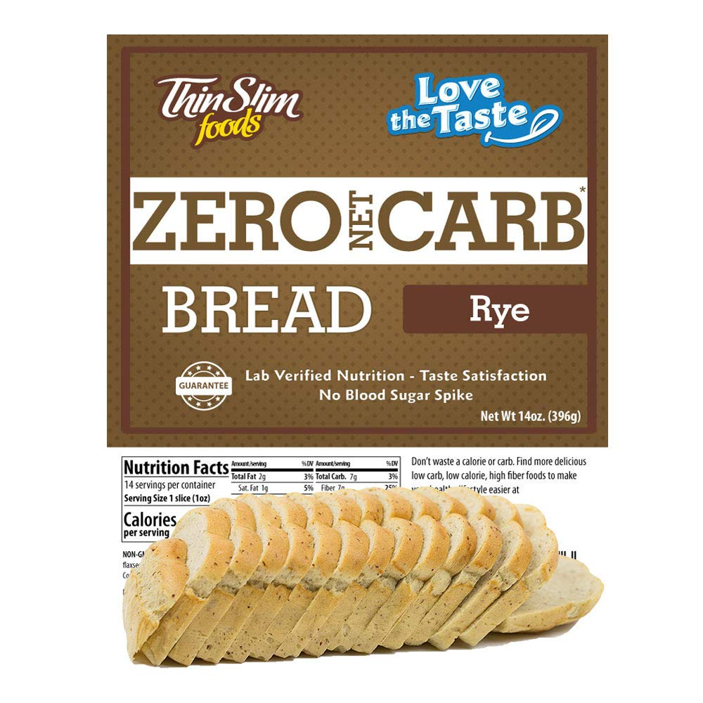 ThinSlim Foods 45 Calorie, 0g Net Carb, Love-The-Taste Low Carb Bread Rye