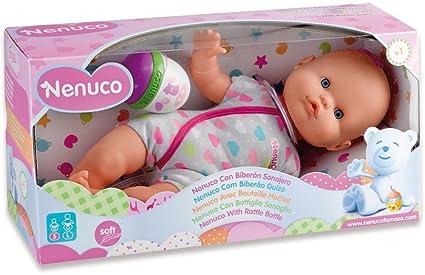 Nenuco - Mi pequeño, muñeca Con Biberón Sonajero y Pijama Rosa y Gris (Famosa 700012087)