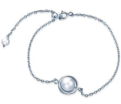 065c2f916e58 Infinito U mujeres niñas 925 plata de ley perlas encanto pulsera única aro  planeta ajustable pulsera de enlace
