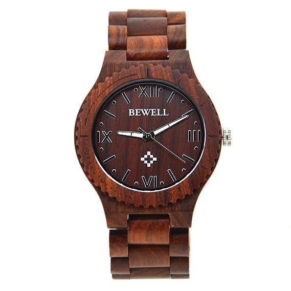 BEWELL Mesa de madera de arce de gran reloj de cuarzo relojes de moda moda mesa