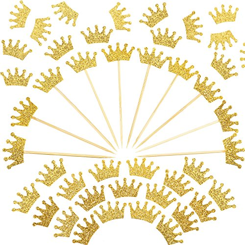 BBTO 200 Pieces Gold Confetti Glitter Crown Shape Confetti and 20 Pieces Crown Cupcake Topper for Birthday Wedding Baby Shower Party Decorations