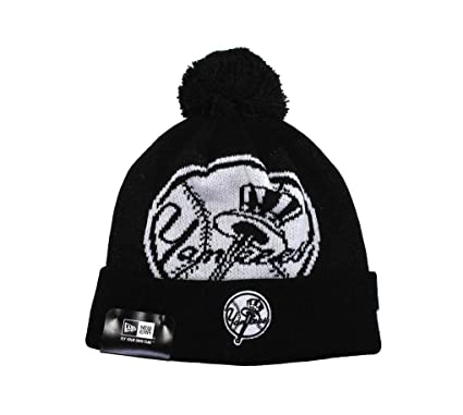 18bcb3f2b10 Image Unavailable. Image not available for. Color  New Era Beanie Mlb New  York Yankees Unisex Knit Black White Hat One Size