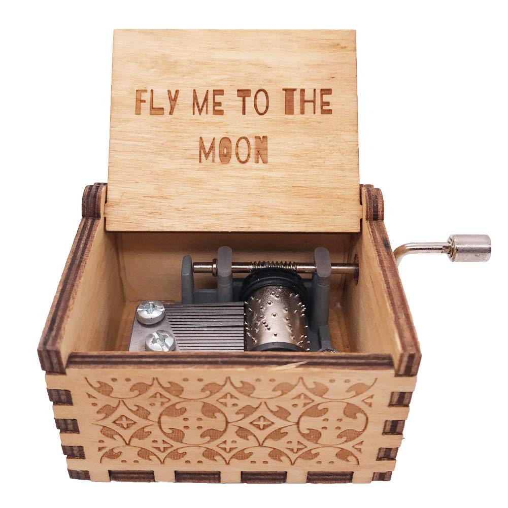 YouTang Music Box 18 Note Hand Crank Engraved Wood Music Box,Play Cant Help Falling in Love,Brown