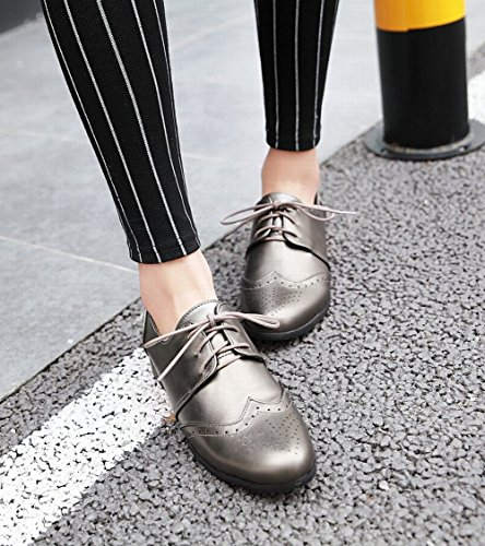 Metal Low Up grey Carolbar Casual Shoes Heel Womens Lace Oxfords Neutral Comfort KBqwS4Aq