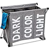 HOMEST Large 3 Section Laundry Hamper Bag Folding Aluminium X-Frame 25.5''L×23''H Detachable Dirty Clothes Sorter Basket College Apartment Home Use, Grey